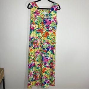 Jams World Tropical Floral Neon Midi Dress